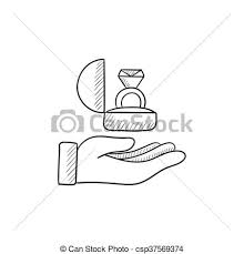 vectors illustration of hand holding gift box with ring sketch