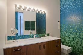 Blue Glass Tile Bathroom Mosaic Tile Accent Band Bathroom Contemporary With Blue Glass Tile