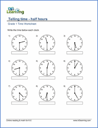 grade 1 math worksheet telling time half hours k5 learning