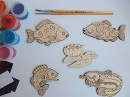 5 fish crafts shapes simple kids craft wooden cutouts for