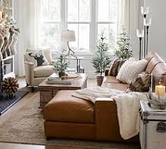 Leather Sofa With Chaise Leather Sectionals Pottery Barn