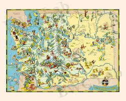 Map Of Washington State by Pictorial Map Of Washington Colorful Fun Illustration Of