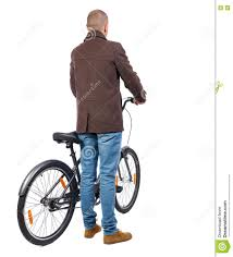 bicycle coat back view of a man with a bicycle stock photo image 79091115