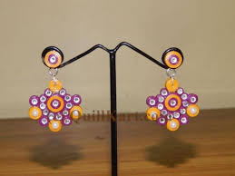 quiling earrings purple and orange quilling earrings buy quilling earrings online