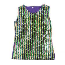 mardi gras tshirts mardi gras stripe sequin sleeveless top medium 12 104mgm