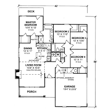 Side Garage Floor Plans Country Style House Plan 4 Beds 2 00 Baths 1451 Sq Ft Plan 20 337