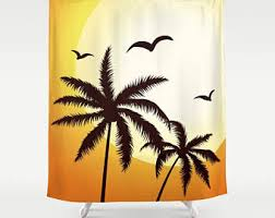 Palm Tree Bathroom Accessories by Palm Tree Curtain Etsy