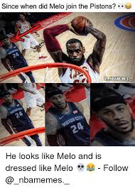 Melo Memes - since when did melo join the pistons caus q nbamemes r city he