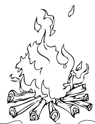 bon fire with books colouring pages clip art library