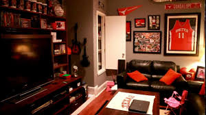 fascinating image of man cave bedroom decoration using dark brown
