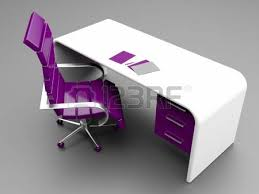 Purple Desk Chair Desk With Lamp And Black Leather Swivel Chair Could Depict An