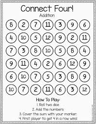 connect four to practice addition math tutoring pinterest