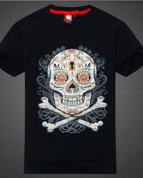 sugar skull tattoo t shirt for men short sleeve black t shirts