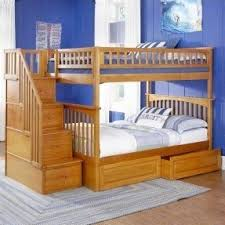 Solid Wood Bunk Beds With Stairs Foter - Solid oak bunk beds with stairs