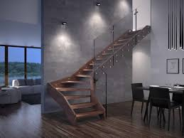 contemporary open wooden frame staircases with glass railing by