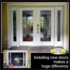 double front doors with really pretty glass inserts update the