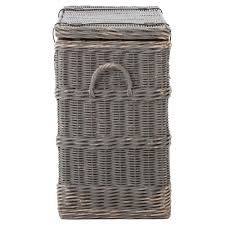 florin rustic lodge grey leather strap wicker trunk kathy kuo home