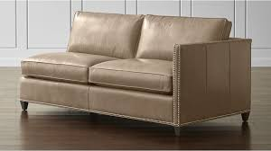 crate and barrel sofa sleeper dryden leather right arm apartment sofa with nailheads crate and