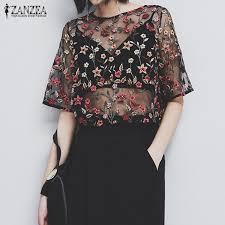 see thru blouse zanzea fashion plus size summer blusas mesh see through