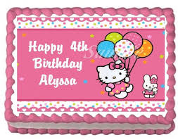 amazon com hello kitty edible frosting sheet cake topper 1 4
