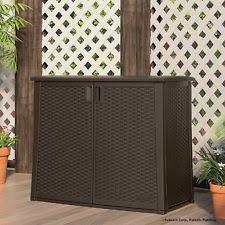 Horizontal Storage Cabinet Suncast Outdoor Storage Cabinet 97 Gal Resin Wicker 40 In Deck