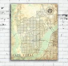 Cape Coral Florida Map Cape Coral Fl Canvas Print Florida Fl Vintage Map Cape Coral