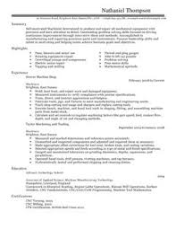 resume and cv samples machinist cv example for production livecareer