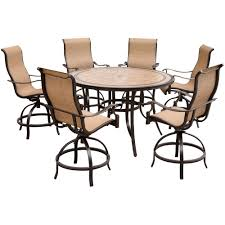 Outdoor Bar Height Swivel Chairs Hanover Monaco 7 Piece Outdoor Bar H8 Dining Set With Round Tile