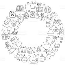 doodle vector icons merry christmas and happy new year stock