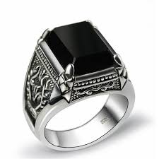 men rings stone images Black stone ring black stone handmade 925 sterling silver mens jpg