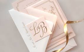 bradley s pink and gold foil wedding invitations