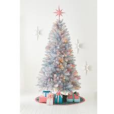 7ft pre lit artificial christmas tree silver tinsel alberta spruce