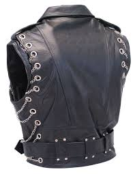 lightweight motorcycle jacket chromed out leather motorcycle vest w chains vm2001mcc