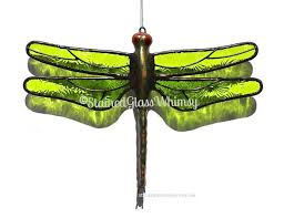 green stained glass dragonfly suncatcher lime green