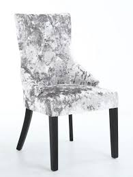 Silver Dining Chair Chester Crushed Velvet Silver Button Back Fabric Dining Chair