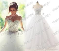 real photo 2016 wedding dresses long sleeves crystal quinceanera
