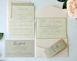 pocket fold chagne and blush wedding invitation blush pocketfold