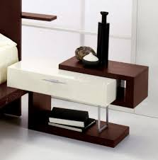 simple bedside table design with single white drawer hard wood
