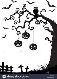 halloween background with dead tree silhouette owl and pumpkin