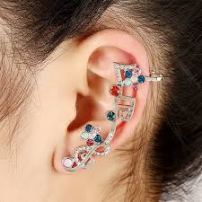 earring cuffs aliexpress buy rhinestone note ear cuff clip on