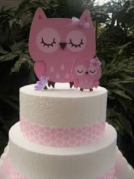 owl cake toppers and baby owl cake toppers in pinks and light purple