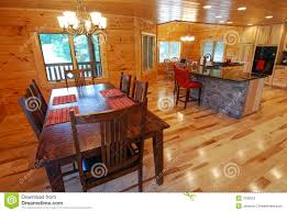 log house kitchen and dining interior royalty free stock photos