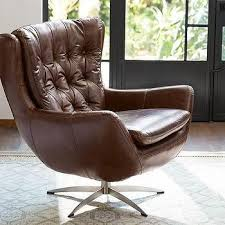 Leather Swivel Armchairs Wells Leather White Shearling Swivel Armchair