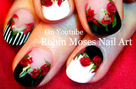 red rose nails black and white nail art with roses design