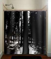 Shower Curtains Black Woods Black Forest Trees Shower Curtain Fabric