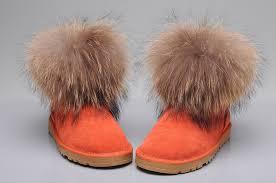 womens ugg boots fox fur style ugg 5854 fox fur boots mini boots orange
