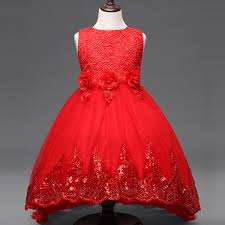 2017 flower dress children red mesh trailing butterfly girls