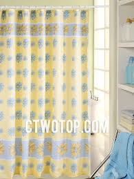 Yellow And Blue Curtains Floral Yellow Panel Shower Curtains