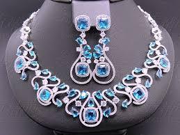 zircon blue necklace images 2015 new fashion wedding necklace earring set luxury light sky jpg
