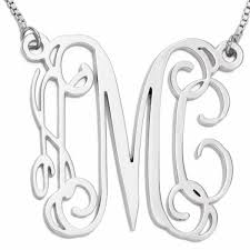 Monogram Initials Necklace Personalized Silver Color Monogram Initial Necklace Customized